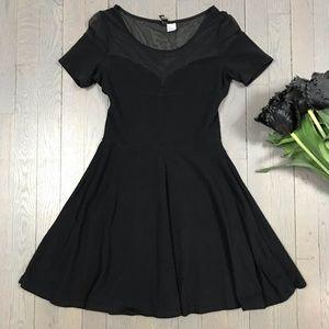 H&M DIVIDED Short Sleeve Skater Little Black Dress